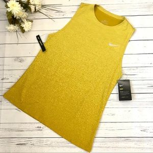 Mustard Yellow Nike Dri-fit Running Tank Top Shirt